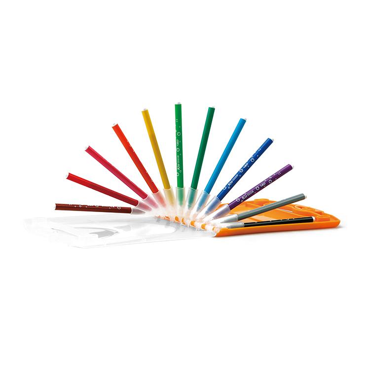 手や衣服についても落ちやすいカラーペン12色セット