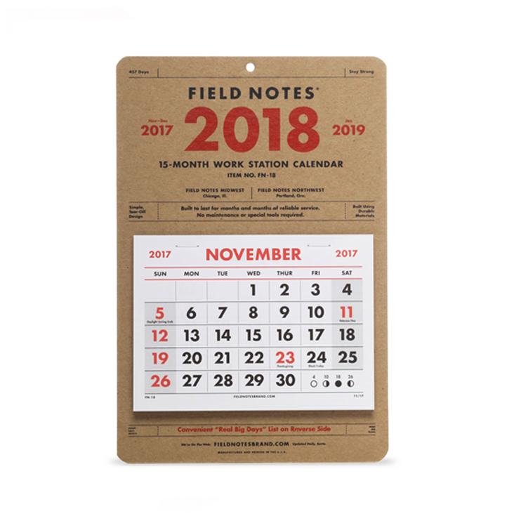 ノスタルジックな雰囲気のはぎ取り式カレンダー